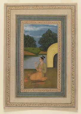Indian. <em>Yogini in a Landscape</em>, ca. 1760. Opaque watercolor on paper, sheet: 11 3/8 x 7 7/8 in.  (28.9 x 20.0 cm). Brooklyn Museum, Gift of Mrs. George Dupont Pratt, 40.368 (Photo: Brooklyn Museum, 40.368_recto_IMLS_PS3.jpg)