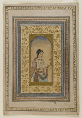 Indian. <em>Courtesan in a Window</em>, 18th century. Washes of watercolor, gold, and ink on paper, sheet: 11 7/8 x 8 3/16 in.  (30.2 x 20.8 cm). Brooklyn Museum, Gift of Mrs. George Dupont Pratt, 40.370 (Photo: Brooklyn Museum, 40.370_recto_IMLS_PS4.jpg)