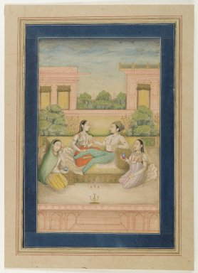 Indian. <em>A Prince and his Consort on a Terrace</em>, ca. 1800. Opaque watercolor on paper, sheet: 11 3/4 x 8 3/8 in.  (29.8 x 21.3 cm). Brooklyn Museum, Gift of Mrs. George Dupont Pratt, 40.371 (Photo: Brooklyn Museum, 40.371_IMLS_PS4.jpg)