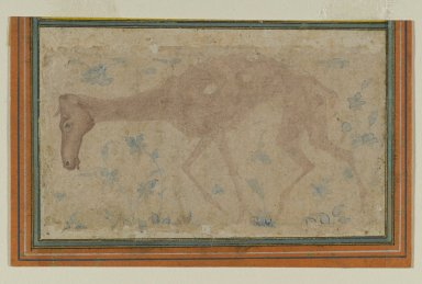 Indian. <em>An Emaciated Horse</em>, mid 17th century. Ink and light color wash on paper, sheet: 2 13/16 x 4 9/16 in. (7.1 x 11.6 cm). Brooklyn Museum, Gift of Mrs. George Dupont Pratt, 40.372 (Photo: Brooklyn Museum, 40.372_PS2.jpg)