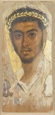 <em>Mummy Portrait of a Man</em>, ca. 120-130 C.E. Wood (Common cypress - Cupressus Sempervirens), encaustic, gold leaf, 17 1/4 x 7 3/4 x 1/16 in. (43.8 x 19.7 x 0.2 cm). Brooklyn Museum, Charles Edwin Wilbour Fund, 40.386 (Photo: Brooklyn Museum, 40.386_SL1.jpg)