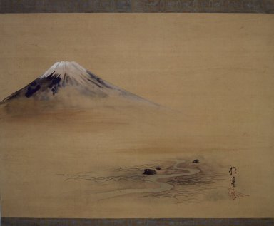 Attributed to Sakai Hoitsu (Japanese, 1761-1828). <em>Painting of Mount Fuji</em>, 1615-1868. Hanging Scroll, painting on silk, 30 11/16 x 51 11/16 in. (78 x 131.3 cm). Brooklyn Museum, 40.509 (Photo: Brooklyn Museum, 40.509.jpg)