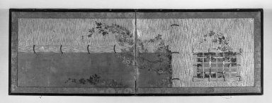 Furosaki. <em>Two-fold Screen</em>, 17th century., 24 3/16 x 71 1/16 in. (61.4 x 180.5 cm). Brooklyn Museum, A. Augustus Healy Fund, 40.515 (Photo: Brooklyn Museum, 40.515_acetate_bw.jpg)