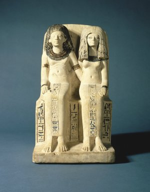 <em>Pair Statue of Nebsen and Nebet-ta</em>, ca. 1400-1352 B.C.E. Limestone, pigment, 15 7/8 x 8 9/16 x 9 1/4 in. (40.4 x 21.8 x 23.5 cm). Brooklyn Museum, Charles Edwin Wilbour Fund, 40.523. Creative Commons-BY (Photo: Brooklyn Museum, 40.523_view1_SL1.jpg)