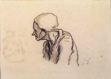 Honoré Daumier (French, 1808-1879). <em>Head of an Old Woman in Profile (Tête de vieille femme de profil à gauche) [recto]; Study of Heads (Étude de têtes) [verso]</em>, late 1850s. Black chalk on wove paper (recto); black chalk and black ink on wove paper (verso), Sheet: 5 1/8 x 7 in. (13 x 17.8 cm). Brooklyn Museum, Brooklyn Museum Collection, 40.527a-b (Photo: Brooklyn Museum, 40.527_transp1450.jpg)