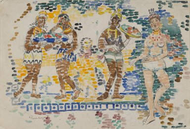 Maurice Brazil Prendergast (American, 1858-1924). <em>Five Figures</em>, ca. 1910-1913. Watercolor, Sheet: 14 3/4 x 20 3/4 in. (37.5 x 52.7 cm). Brooklyn Museum, Dick S. Ramsay Fund, 40.54a (Photo: Brooklyn Museum, 40.54a_PS2.jpg)