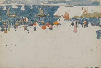 Maurice Brazil Prendergast (American, 1858-1924). <em>Beach Scene with Boats</em>, ca. 1896-1897. Watercolor and graphite on wove paper, Sheet: 14 1/4 x 20 3/4 in. (36.2 x 52.7 cm). Brooklyn Museum, Dick S. Ramsay Fund, 40.54b (Photo: Brooklyn Museum, 40.54b_PS2.jpg)