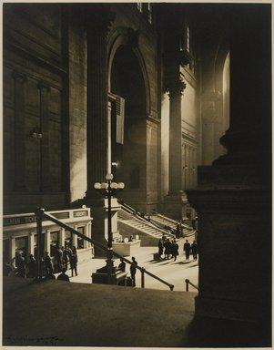 Dr. Drahomir Josef Ruzicka (American, born Czech Republic, 1870-1960). <em>Pennsylvania Station</em>, 1941. Toned chlorobromide print, Sheet: 13 7/8 x 10 15/16 in. (35.2 x 27.8 cm). Brooklyn Museum, Gift of the artist, 40.561 (Photo: Brooklyn Museum, 40.561_PS1.jpg)