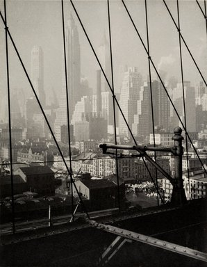 Dr. Drahomir Josef Ruzicka (American, born Czech Republic, 1870-1960). <em>Lower Manhattan</em>, 1936. Gelatin silver photograph, Sheet: 11 x 14 in. (27.9 x 35.6 cm). Brooklyn Museum, Gift of the artist, 40.563 (Photo: Brooklyn Museum, 40.563_PS1.jpg)