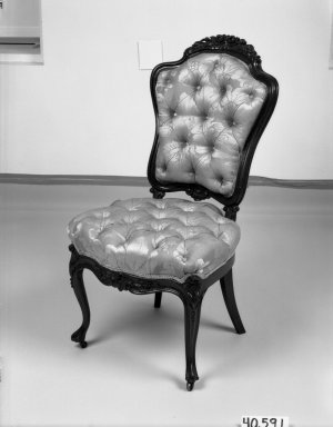 Elijah Galusha (American, ca. 1850). <em>Side chair (one of a pair)</em>, 1856. Rosewood, modern upholstery, 38 1/8 x 19 1/2 x 18 1/2 in. (96.8 x 49.5 x 47 cm). Brooklyn Museum, Dick S. Ramsay Fund, 40.591. Creative Commons-BY (Photo: Brooklyn Museum, 40.591_bw_IMLS.jpg)