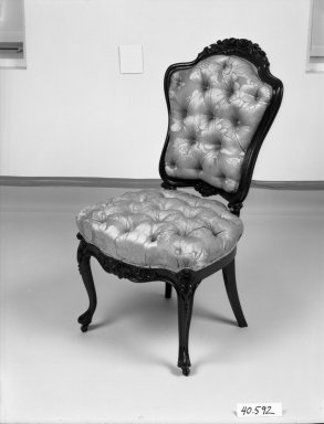 Elijah Galusha (American, ca. 1850). <em>Side chair (one of a pair)</em>, 1856. Rosewood, modern upholstery, 38 1/8 x 19 1/2 x 18 1/2 in. (96.8 x 49.5 x 47 cm). Brooklyn Museum, Dick S. Ramsay Fund, 40.592. Creative Commons-BY (Photo: Brooklyn Museum, 40.592_bw_IMLS.jpg)