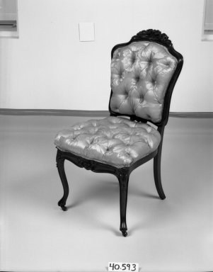 Elijah Galusha (American, ca. 1850). <em>Side chair (one of a set of four)</em>, 1856. Rosewood, modern upholstery, 35 1/4 x 18 x 17 3/8 in. (89.5 x 45.7 x 44.1 cm). Brooklyn Museum, Dick S. Ramsay Fund, 40.593. Creative Commons-BY (Photo: Brooklyn Museum, 40.593_bw_IMLS.jpg)