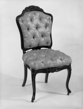 Elijah Galusha (American, ca. 1850). <em>Side chair (one of a set of four)</em>, 1856. Rosewood, modern upholstery, 35 1/4 x 18 x 17 3/8 in. (89.5 x 45.7 x 44.1 cm). Brooklyn Museum, Dick S. Ramsay Fund, 40.594. Creative Commons-BY (Photo: Brooklyn Museum, 40.594_bw_IMLS.jpg)