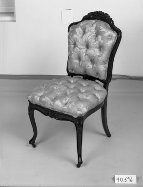 Elijah Galusha (American, ca. 1850). <em>Side chair (one of a set of four)</em>, 1856. Rosewood, modern upholstery, 35 1/4 x 18 x 17 3/8 in. (89.5 x 45.7 x 44.1 cm). Brooklyn Museum, Dick S. Ramsay Fund, 40.596. Creative Commons-BY (Photo: Brooklyn Museum, 40.596_bw_IMLS.jpg)