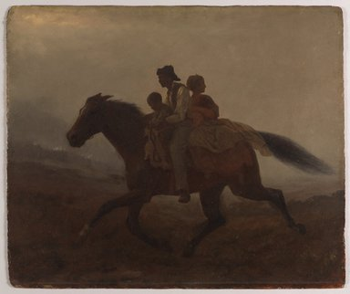Eastman Johnson (American, 1824-1906). <em>A Ride for Liberty -- The Fugitive Slaves (recto)</em>, ca. 1862. Oil on paperboard, 21 15/16 x 26 1/8 in. (55.8 x 66.4 cm). Brooklyn Museum, Gift of Gwendolyn O. L. Conkling, 40.59a-b (Photo: Brooklyn Museum, 40.59a_PS9.jpg)