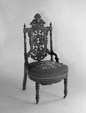 American. <em>Side chair (reception) (Elizabethan-revival style)</em>. Mahogany, original upholstery, 38 3/4 x 19 3/4 x 20 1/8 in. (98.4 x 50.2 x 51.1 cm). Brooklyn Museum, Dick S. Ramsay Fund, 40.604. Creative Commons-BY (Photo: Brooklyn Museum, 40.604_acetate_bw.jpg)