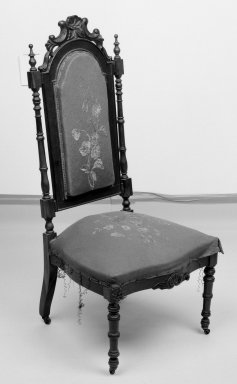 <em>Side Chair (reception) (Elizabethan Revival style)</em>, 1856. Rosewood, original upholstery, 40 7/8 x 18 1/2 x 18 3/4 in. (103.8 x 47 x 47.6 cm). Brooklyn Museum, Dick S. Ramsay Fund, 40.605. Creative Commons-BY (Photo: Brooklyn Museum, 40.605_bw.jpg)
