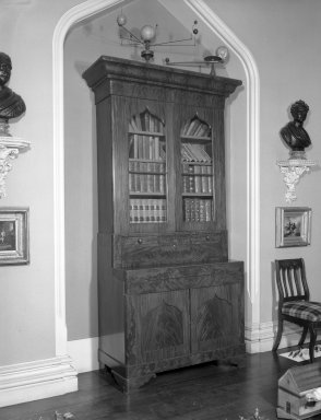 American. <em>Secretary Bookcase</em>, ca. 1850. Mahogany, mahogany veneer, glass, other woods, 93 1/2 x 19 1/2 x 45 1/8 in. (237.5 x 49.5 x 114.6 cm). Brooklyn Museum, Dick S. Ramsay Fund, 40.610. Creative Commons-BY (Photo: Brooklyn Museum, 40.610_bw.jpg)