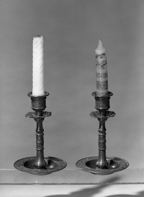 American. <em>Pair of Candlesticks</em>, 19th century. Brass Brooklyn Museum, Dick S. Ramsay Fund, 40.647. Creative Commons-BY (Photo: Brooklyn Museum, 40.647_acetate_bw.jpg)