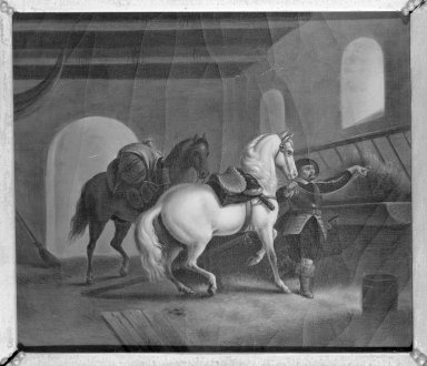 Unknown. <em>The Knight's Return</em>. Oil on canvas, 8 11/16 x 10 in.  (22.1 x 25.4 cm). Brooklyn Museum, Dick S. Ramsay Fund, 40.678 (Photo: Brooklyn Museum, 40.678_framed_bw.jpg)