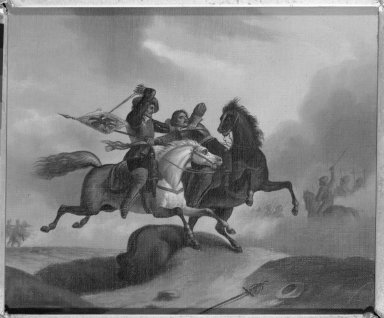 Unknown. <em>The Combat</em>. Oil on canvas, 8 11/16 x 10 in.  (22.1 x 25.4 cm). Brooklyn Museum, Dick S. Ramsay Fund, 40.679 (Photo: Brooklyn Museum, 40.679_framed_bw.jpg)