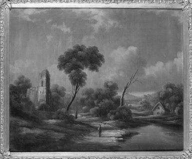 American. <em>Ludlow Castle</em>, ca. 1850s-1860s. Oil on canvas, 20 1/16 x 23 7/8 in. (51 x 60.7 cm). Brooklyn Museum, Dick S. Ramsay Fund, 40.682 (Photo: Brooklyn Museum, 40.682_framed_bw.jpg)