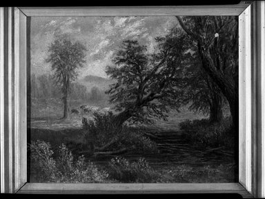 D. S. Pierce (American, active mid-19th century). <em>Landscape</em>, mid-19th century. Oil on canvas, 8 1/16 x 10 1/16 in. (20.4 x 25.6 cm). Brooklyn Museum, Dick S. Ramsay Fund, 40.683 (Photo: Brooklyn Museum, 40.683_acetate_bw.jpg)