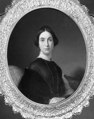 John G. Taggart (American, 1820-1871). <em>Mrs. Robert James Milligan</em>, 1851. Oil on canvas, 29 15/16 x 24 15/16 in. (76 x 63.3 cm). Brooklyn Museum, Dick S. Ramsay Fund, 40.685 (Photo: Brooklyn Museum, 40.685_framed_bw.jpg)