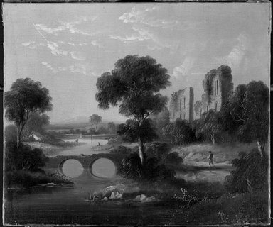 American. <em>Warwick Castle</em>, ca. 1850s-1860s. Oil on canvas, 20 3/16 x 23 13/16 in. (51.3 x 60.5 cm). Brooklyn Museum, Dick S. Ramsay Fund, 40.686 (Photo: Brooklyn Museum, 40.686_acetate_bw.jpg)