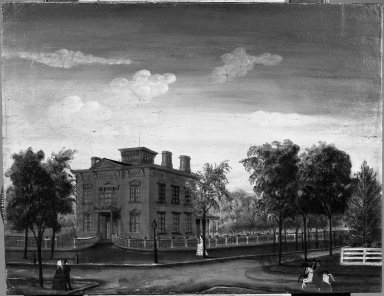Unknown. <em>View of the Robert James Milligan House, Saratoga Springs, New York</em>, after 1856. Oil on canvas, 20 1/8 x 26 1/8 in. (51.1 x 66.3 cm). Brooklyn Museum, Dick S. Ramsay Fund, 40.687 (Photo: Brooklyn Museum, 40.687_acetate_bw.jpg)