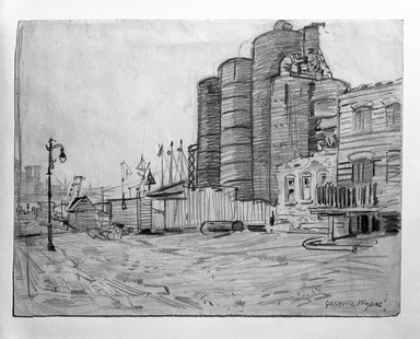 Jerome Myers (American, 1867-1940). <em>Dock Scene</em>, ca. 1920. Graphite on beige, medium thick, slightly textured wove paper, Sheet: 8 1/16 x 10 9/16 in. (20.5 x 26.8 cm). Brooklyn Museum, Gift of Mrs. George D. Pratt, 40.692. © artist or artist's estate (Photo: Brooklyn Museum, 40.692_bw.jpg)