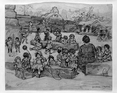 Jerome Myers (American, 1867-1940). <em>Children Playing</em>, ca. 1915. Graphite on beige, moderately thick, slightly textured wove paper, Sheet: 8 x 10 in. (20.3 x 25.4 cm). Brooklyn Museum, Gift of Mrs. George D. Pratt, 40.694. © artist or artist's estate (Photo: Brooklyn Museum, 40.694_bw.jpg)