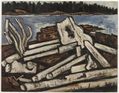 Marsden Hartley (American, 1877-1943). <em>Ghosts of the Forest</em>, ca. 1938. Oil on academy board, 22 1/8 x 28in. (56.2 x 71.1cm). Brooklyn Museum, John B. Woodward Memorial Fund, 40.711. © artist or artist's estate (Photo: Brooklyn Museum, 40.711_PS9.jpg)