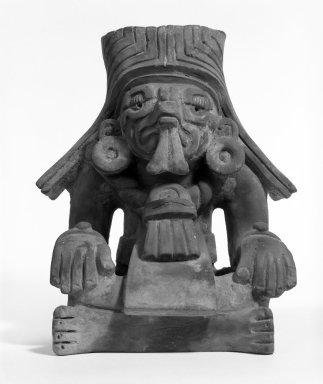 Zapotec. <em>Funerary Urn in Form of Seated Figure</em>. Gray clay Brooklyn Museum, 40.715. Creative Commons-BY (Photo: Brooklyn Museum, 40.715_view1_bw.jpg)