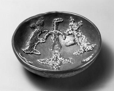 Huichol (Wixárika). <em>Votive Bowl</em>. Gourd, beeswax, beads, 2 7/16 x 6 1/8 x 6 1/8 in. (6.2 x 15.6 x 15.6 cm). Brooklyn Museum, Ella C. Woodward Memorial Fund, 40.735. Creative Commons-BY (Photo: Brooklyn Museum, 40.735_bw.jpg)
