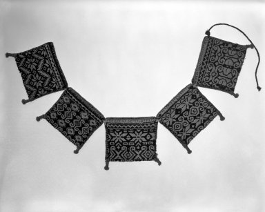 Huichol (Wixárika). <em>Belt of Little Bags</em>. Woven wool & cotton Brooklyn Museum, Ella C. Woodward Memorial Fund, 40.742. Creative Commons-BY (Photo: Brooklyn Museum, 40.742_bw.jpg)