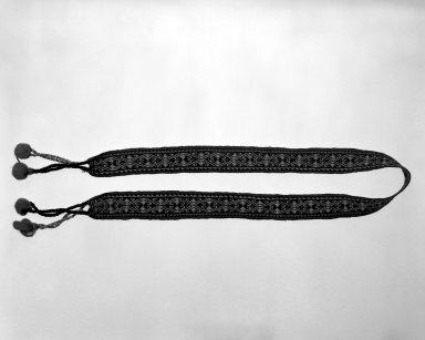 Huichol (Wixárika). <em>Headband</em>. Wool, cotton Brooklyn Museum, Ella C. Woodward Memorial Fund, 40.746. Creative Commons-BY (Photo: Brooklyn Museum, 40.746_bw.jpg)