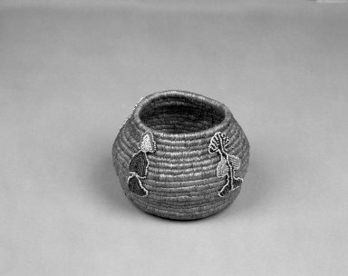 Eskimo (Arctic or Subarctic). <em>Coiled Basket</em>. hide, beads, fiber, 5 1/4 x 3 3/4in. (13.3 x 9.5cm). Brooklyn Museum, Gift of D.D. Streeter, 40.771. Creative Commons-BY (Photo: Brooklyn Museum, 40.771_bw.jpg)