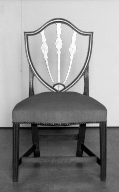 American. <em>Pair of Hepplewhite Shield Back Side Chairs</em>, 18th century. Upholstered in blue damask, 36 1/2 x 21 1/2 x 17 1/4 in. (92.7 x 54.6 x 43.8 cm). Brooklyn Museum, Gift of Mrs. J. Amory Haskell, 40.864a-b. Creative Commons-BY (Photo: Brooklyn Museum, 40.864a_bw.jpg)