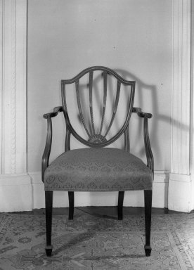 American. <em>Shield Back Armchair</em>, 18th century. Damask, 38 1/2 x 22 1/2 x 19 3/4 in. (97.8 x 57.2 x 50.2 cm). Brooklyn Museum, Gift of Mrs. J. Amory Haskell, 40.867. Creative Commons-BY (Photo: , 40.866_40.867_acetate_bw.jpg)