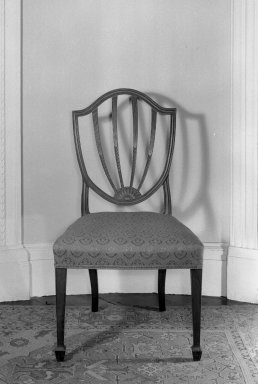 American. <em>Shield Back Side Chair</em>, 18th century. Damask, 38 1/2 x 21 3/4 x 18 1/4 in. (97.8 x 55.2 x 46.4 cm). Brooklyn Museum, Gift of Mrs. J. Amory Haskell, 40.870. Creative Commons-BY (Photo: , 40.868_.869_.870_.871_.872_.873_acetate_bw.jpg)