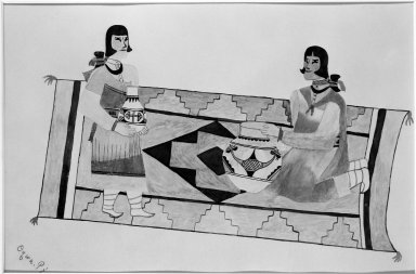 Oqwa Pi aka Abel Sanchez (San Ildefonso Pueblo, 1889-1971). <em>Two Women on a Rug</em>, 1930-1940. Watercolor over graphite on wove paper, 9 13/16 x 14 1/4 in. (24.9 x 36.2 cm). Brooklyn Museum, Dick S. Ramsay Fund, 40.88. Creative Commons-BY (Photo: Brooklyn Museum, 40.88_bw.jpg)