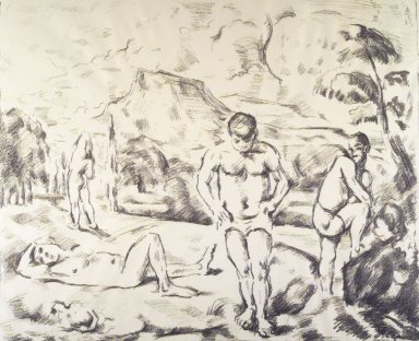 Paul Cézanne (French, 1839-1906). <em>Bathers (Baigneurs)</em>, ca. 1898. Lithograph on laid paper, image: 16 1/8 × 19 3/4 in. (41 × 50.2 cm). Brooklyn Museum, Carll H. de Silver Fund, 40.891 (Photo: Brooklyn Museum, 40.891_transp1458.jpg)