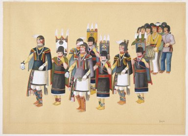 Louis Lomayesva (Hopi Pueblo, 1916-1996). <em>Hopi Corn Dance</em>, 1930s. Watercolor on paper, 15 15/16 x 21 15/16 in. (40.5 x 55.7 cm). Brooklyn Museum, Dick S. Ramsay Fund, 40.90. Creative Commons-BY (Photo: Brooklyn Museum, 40.90_SL1.jpg)