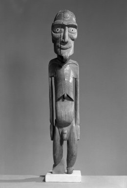 Rapanui. <em>Standing Figure (Moai Kavakava)</em>, ca. 1880. Wood, shell or bone, obsidian, 26 x 5 1/8 x 4 3/4 in.  (66 x 13 x 12 cm). Brooklyn Museum, Ella C. Woodward Memorial Fund, 40.918. Creative Commons-BY (Photo: Brooklyn Museum, 40.918_front_acetate_bw.jpg)