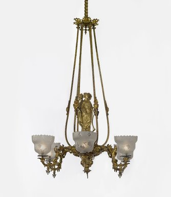 "Cornelius & Baker (1853-1869). <em>Chandelier</em>, ca. 1855. Bronze, other metals, glass, Height: 47"" . Brooklyn Museum, Dick S. Ramsay Fund, 40.930.57. Creative Commons-BY (Photo: Brooklyn Museum, 40.930.57_PS4.jpg)"