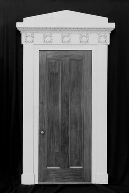 Unknown. <em>Door and Doorframe</em>, ca. 1835. Mahogany, painted pine, metal hardware, 120 1/8 x 72 13/16 x 5 1/4 in. (305.1 x 184.9 x 13.3 cm). Brooklyn Museum, Gift of the Young Men's Christian Association, Flatbush Branch, 40.931.2a-b. Creative Commons-BY (Photo: Brooklyn Museum, 40.931.2a-b_bw.jpg)