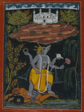 Indian. <em>Varaha Rescuing the Earth, page from an illustrated Dasavatara series</em>, ca. 1730-1740. Opaque watercolor, gold, and silver on paper, Sheet: 10 1/2 x 8 1/8 in. (26.7 x 20.6 cm). Brooklyn Museum, Brooklyn Museum Collection, 41.1026 (Photo: Brooklyn Museum, 41.1026_SL1.jpg)