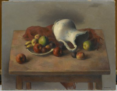 Robert Brackman (American, 1896-1980). <em>Still Life with Discarded Pitcher</em>, ca. 1940. Oil on canvas, 28 1/4 x 36 3/16 in. (71.8 x 91.9 cm). Brooklyn Museum, Gift of Alfred W. Jenkins, by exchange, 41.1084. © artist or artist's estate (Photo: Brooklyn Museum, 41.1084_PS2.jpg)