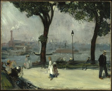 William Glackens (American, 1870-1938). <em>East River Park</em>, ca. 1902. Oil on canvas, 25 7/8 x 32in. (65.7 x 81.3cm). Brooklyn Museum, Dick S. Ramsay Fund, 41.1085 (Photo: Brooklyn Museum, 41.1085_SL1.jpg)